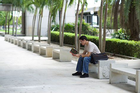 Student sitting on a bench reading a book