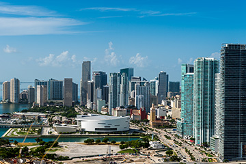 Arial shot of downtown miami